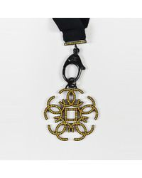 Chanel - Yellow Black & Gunmetal Gray Grosgrain Ribbon Crystal Pendant Necklace - Lyst