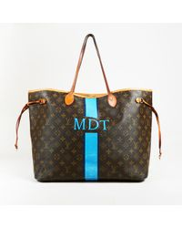 "Louis Vuitton - Brown Blue Monogram Coated Canvas ""neverfull Mm"" Tote Bag - Lyst"