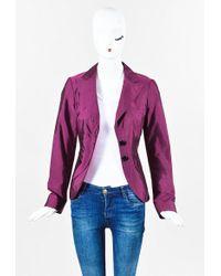 Etro - Magenta Purple Sateen Buttoned Jacket - Lyst