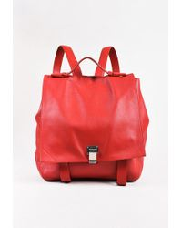 "Proenza Schouler | Red Leather Large ""ps Courier"" Flap Backpack Bag 