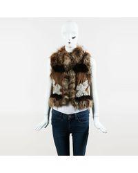 Elizabeth and James - Brown Multicolour Raccoon & Rabbit Fur Vest - Lyst