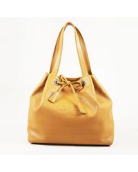 Chanel - Light Brown Leather 'cc' Drawstring Tie Shoulder Bag - Lyst