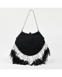 Badgley Mischka - Black Satin Beaded Feather Accented Evening Bag - Lyst