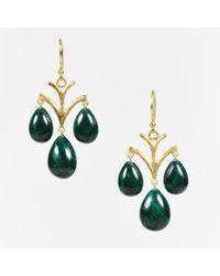 Elizabeth Showers - 18k Gold & Green Malachite Stone Drop Earrings - Lyst