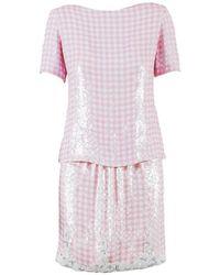 Bill Blass - Pink White Sequined Gingham Top & Pencil Skirt Set - Lyst
