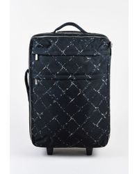 Chanel - Black And White Canvas Graphic Diamond Print Travel Rolling Suitcase Bag - Lyst