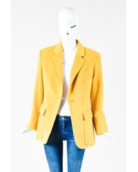 Hermès - Yellow Angora Wool Ls Single Button Blazer Jacket - Lyst