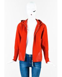 Bottega Veneta | Red Wool Leather Trim Zip Up Hooded Long Sleeve Sweater | Lyst