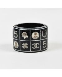 """Chanel - 14c Black Quilted Faux Pearl Logo """"lucky Charms"""" Bracelet - Lyst"""