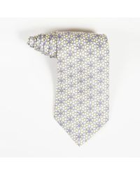 66596a2e132d Hermès Mens Blue White Silk Chainlink Print Tie in Blue for Men - Lyst