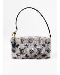 "Louis Vuitton - Grey, Brown, And Black Mink Fur Monogram ""milla Mm"" Pouch Wristlet Bag - Lyst"