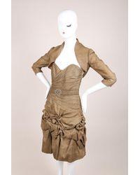 Monique Lhuillier - Brown Bronze Linen Ruched Strapless Dress Crop Jacket Set - Lyst
