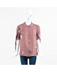Louis Vuitton - Red & White Silk Short Tie Sleeve Knit Print Blouse Sz 40 - Lyst