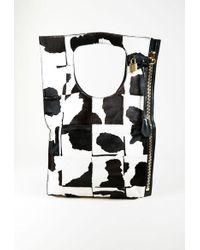 "Tom Ford - Black & White Pony Hair & Leather Zipped Padlock Fold Over ""alix"" Bag - Lyst"