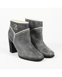 Chanel - Leather Shearling 'cc' Ankle Boots - Lyst