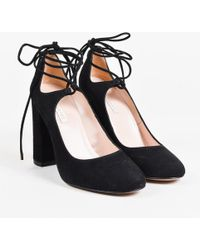 Pura López - Nib Black Suede Lace Up Pumps - Lyst