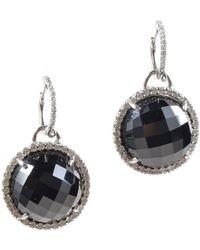Unbranded - 14k White Gold Diamond Black Onyx Detachable Pendant Hoop Earrings Set - Lyst