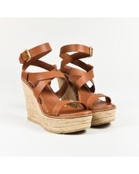 Ralph Lauren Collection - Brown Leather Ankle Wrap Espadrille Wedge Sandals - Lyst