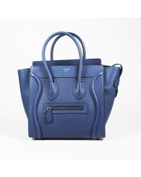 """Céline - """"petrol"""" Blue Drummed Leather """"micro Luggage"""" Tote - Lyst"""