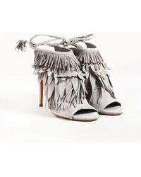 Aquazzura - Gray Suede Fringed Open Toe High Heel Sandals - Lyst