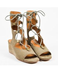 Chloé - Nib Olive Suede Lace Up Peep Toe 50mm Wedge Gladiator Sandals - Lyst