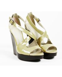 Burberry - Patent Leather Wedge Sandals - Lyst