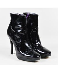 Emilio Pucci - Black Purple Patent Leather Cap Toe Heeled Ankle Boots Sz 36.5 - Lyst