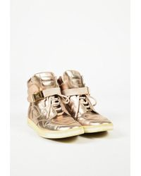 Louis Vuitton | Metallic Gold Leather High Top Sneakers | Lyst