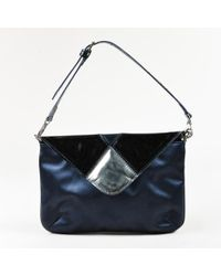 Robert Clergerie - Blue Satin Black Patent Leather Front Flap Clutch Bag - Lyst