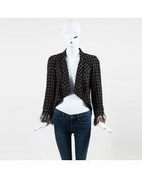 Chanel - Black Multicolour Tweed Ostrich Feather Embellished Blazer - Lyst