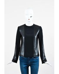Céline - Black Leather Knit Combo Ls Top Sz 36 - Lyst