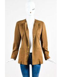 Hermès - Brown Cotton Snap Button Down Jacket - Lyst