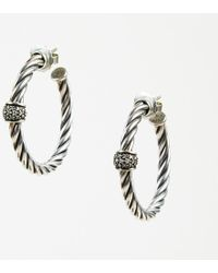 """David Yurman - 18k White Gold Sterling Silver """"cable Classic Hoop"""" Earrings - Lyst"""
