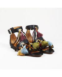 "Chloé - Tasselled Leather ""miki"" Gladiator Sandals - Lyst"