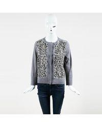 Giambattista Valli - Gray Silk & Wool Leopard Print Ls Cardigan - Lyst