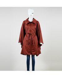 Akris - Orange Nylon Collared Zip Up Belted Poncho Jacket - Lyst