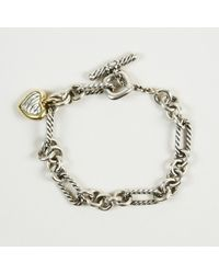 "David Yurman - Sterling Silver 18k Gold ""two Tone Cable Heart"" Bracelet - Lyst"