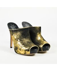 Alejandro Ingelmo - Gold Black Leather Peep Toe Platform High Heel Court Shoes - Lyst
