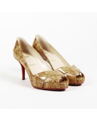 ca8fad0a749f Lyst - Christian Louboutin Patent Leather Cork Wedge Pumps in Black