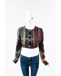 Chanel - Nwt Runway 2015 Multicolour Tweed Cotton Cropped Long Sleeve Jacket - Lyst