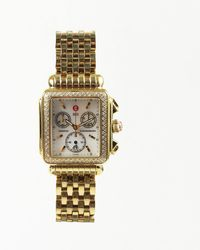 """Michele - """"deco"""" Gold Tone Stainless Steel Diamond Watch - Lyst"""