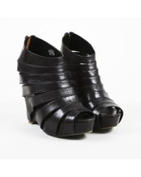 """Ash - Black Leather """"lotus"""" Wedge Caged Booties - Lyst"""