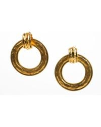 Chanel - Vintage Gold Tone Hammered Convertible Hoop Earrings - Lyst