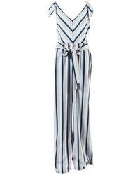 "Lela Rose - ""sky"" Blue Multicolour Seersucker Striped Bow Tie Jumpsuit - Lyst"