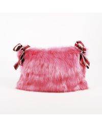"Shrimps - ""bubblegum"" Pink Faux Fur Glittered Ribbon Clutch - Lyst"