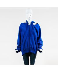 0a5113a32b20 Vetements - X Champion Blue French Terry Open Shoulder In Progress Hoodie -  Lyst