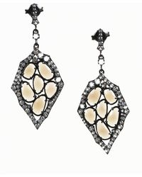 Unbranded - Smoky Quartz And White Topaz Sterling Silver Chandelier Earrings - Lyst
