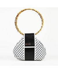 Gianfranco Ferré - White Black Patent Leather Bamboo Shoulder Bag - Lyst