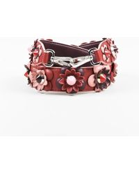 Fendi - Red Pink Leather Flower Embellished Studded Bag Strap - Lyst