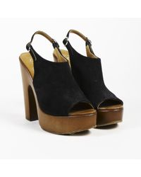 0846c4e23 Chanel - Black Brown Suede Slingback Pumps - Lyst